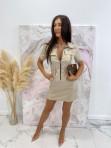 Sukienka mini na krótki rękaw z kieszeniami beżowa Minko 09 - photo #3