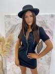 Sukienka mini na krótki rękaw z kieszeniami czarna Minko 09 - photo #1