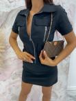 Sukienka mini na krótki rękaw z kieszeniami czarna Minko 09 - photo #3