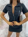 Sukienka mini na krótki rękaw z kieszeniami czarna Minko 09 - photo #4