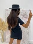 Sukienka mini na krótki rękaw z kieszeniami czarna Minko 09 - photo #5