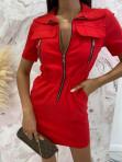 Sukienka mini na krótki rękaw z kieszeniami czerwona Minko 09 - photo #3