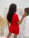 Sukienka mini na krótki rękaw z kieszeniami czerwona Minko 09 - photo #4