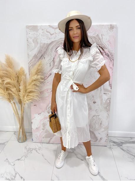 Sukienka maxi na krótki rękaw biała Anka 09