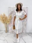 Sukienka maxi na krótki rękaw biała Anka 09 - photo #1