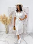 Sukienka maxi na krótki rękaw biała Anka 09 - photo #2