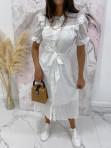 Sukienka maxi na krótki rękaw biała Anka 09 - photo #3