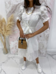 Sukienka maxi na krótki rękaw biała Anka 09 - photo #4