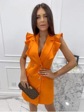 Sukienka a'la marynarka z falbaną pomarańczowa Aloisa 54