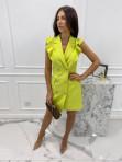 Sukienka a'la marynarka z falbaną limonkowa Aloisa 54 - photo #2