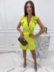 Sukienka a'la marynarka z falbaną limonkowa Aloisa 54 - photo #3