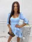 Sukienka z falbanką błękitna  Janet 54 - photo #0