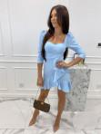 Sukienka z falbanką błękitna  Janet 54 - photo #5