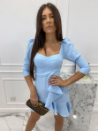 Sukienka z falbanką błękitna  Janet 54 - photo #2