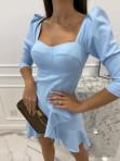 Sukienka z falbanką błękitna  Janet 54 - photo #3