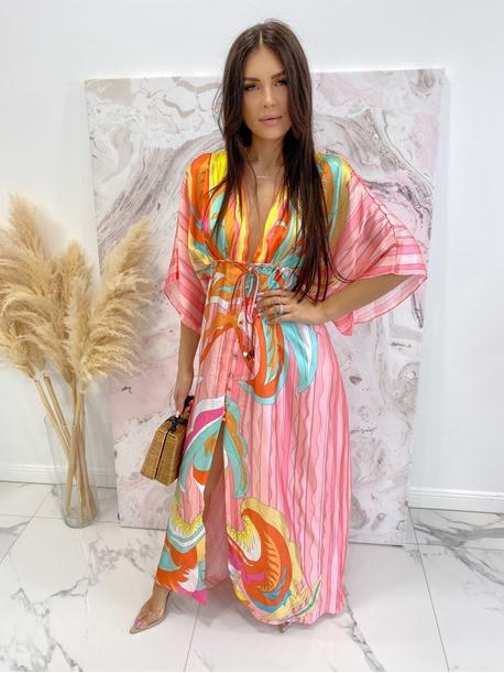 Sukienka maxi w kolorowe wzory różowa Rela 09