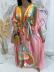 Sukienka maxi w kolorowe wzory różowa Rela 09 - photo #1