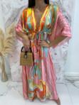 Sukienka maxi w kolorowe wzory różowa Rela 09 - photo #3