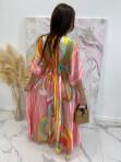 Sukienka maxi w kolorowe wzory różowa Rela 09 - photo #2