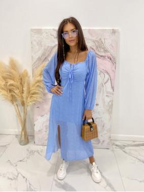 Sukienka hiszpanka w groszki niebieska Molina 17