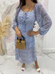 Sukienka hiszpanka w kwiaty niebieska Molina 17 - photo #2