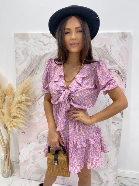 Sukienka z wiązaniem fioletowa Kalina 47