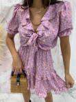 Sukienka z wiązaniem fioletowa Kalina 47 - photo #5