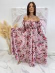 Sukienka maxi hiszpanka w kwiaty różowa Sabia 115 - photo #0