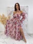 Sukienka maxi hiszpanka w kwiaty różowa Sabia 115 - photo #1