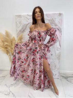 Sukienka maxi hiszpanka w kwiaty różowa Sabia 115