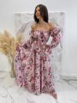 Sukienka maxi hiszpanka w kwiaty różowa Sabia 115 - photo #3