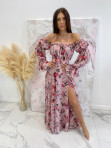 Sukienka maxi hiszpanka w kwiaty różowa Sabia 115 - photo #4