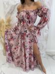 Sukienka maxi hiszpanka w kwiaty różowa Sabia 115 - photo #5