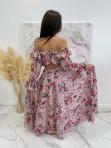 Sukienka maxi hiszpanka w kwiaty różowa Sabia 115 - photo #7