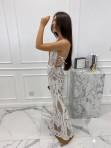 Sukienka maxi cekinowa z wiązaniem w talii beżowa Aurelia 89 - photo #2