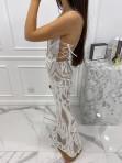 Sukienka maxi cekinowa z wiązaniem w talii beżowa Aurelia 89 - photo #3