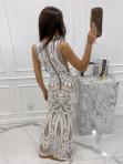 Sukienka maxi cekinowa z wiązaniem w talii beżowa Aurelia 89 - photo #4