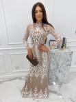 Sukienka maxi z długim koronkowym rękawem beżowa Colima 89 - photo #0