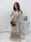 Sukienka maxi z długim koronkowym rękawem beżowa Colima 89 - photo #1