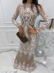 Sukienka maxi z długim koronkowym rękawem beżowa Colima 89 - photo #2