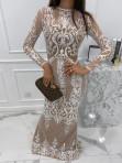 Sukienka maxi z długim koronkowym rękawem beżowa Colima 89 - photo #3