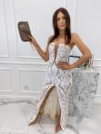 Sukienka maxi gorsetowa z rozcięciem na przodzie beżowa Andrea 89 - photo #1