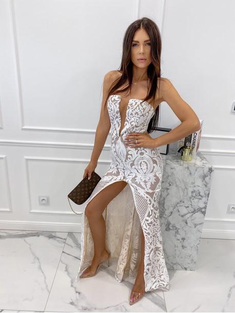 Sukienka maxi gorsetowa z rozcięciem na przodzie beżowa Andrea 89