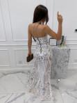 Sukienka maxi gorsetowa z rozcięciem na przodzie beżowa Andrea 89 - photo #5