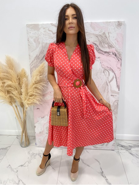 Sukienka w grochy czerwona Felicja 17
