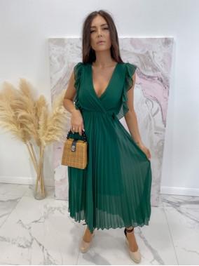 Sukienka maxi z żabotem butelkowa zieleń Liva 03