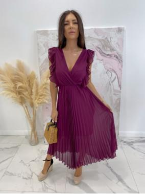 Sukienka maxi z żabotem fioletowa Liva 03