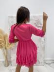 Sukienka z dekoltem i koronką różowa 17 - photo #6
