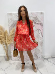 Sukienka z odkrytymi ramionami w print różowych liści Marika 51 - photo #2