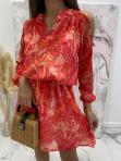 Sukienka z odkrytymi ramionami w print różowych liści Marika 51 - photo #3